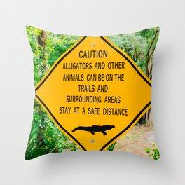 Alligators Crossing Throw Pillow