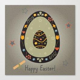 Festive Easter Egg with Cute Egg inside Canvas Print