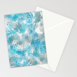 abstract white patterns on blue watercolor Stationery Cards
