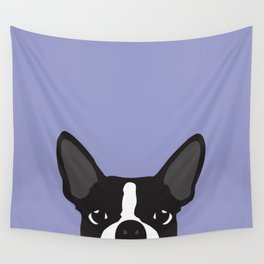 Boston Terrier Violet Wall Tapestry