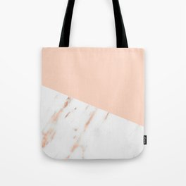 Pink Quartz and White Marble Rose Gold Tote Bag
