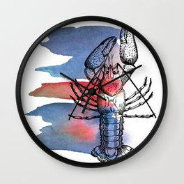 Lobster in Red and Blue Wall Clock