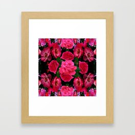 GARDEN ART OF FUCHSIA PINK ROSES Framed Art Print