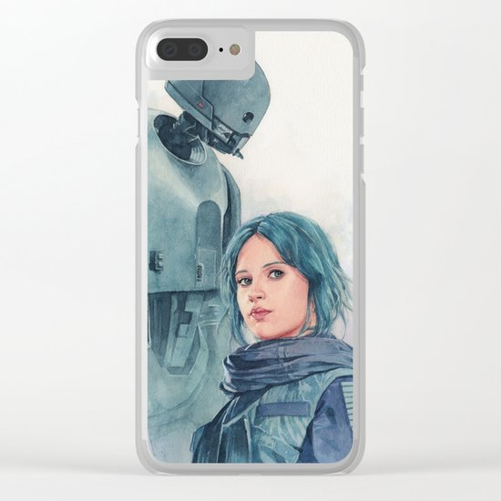 Jyn Erso and K-2so Clear iPhone Case