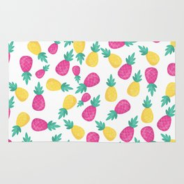 Pink yellow hand painted tropical pineapple pattern Rug