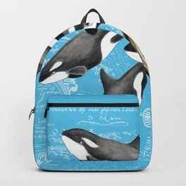 Orca Whales Pod Blue Compass Vintage Map Backpack