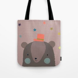 Big Bear and Bluebird Pink Tote Bag