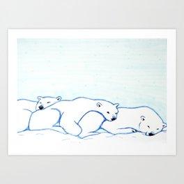 Sleepy Polar Bears Art Print