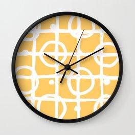 Yellow White Circle Squares Wall Clock