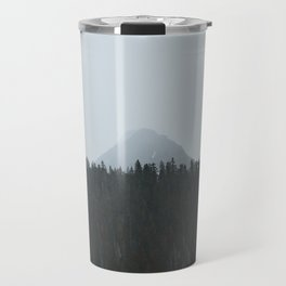 Minimalist Landscape Photo Tall Trees Mountain In The Background Travel Mug