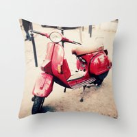 vespa Throw Pillows featuring vespa by iokk