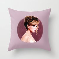 jennifer lawrence Throw Pillows featuring Jennifer  Lawrence  by Sophie Eves