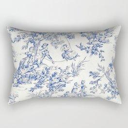 Blue French Toile Rectangular Pillow