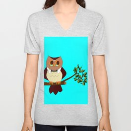 A Wise Ole Owl on a Branch Unisex V-Neck