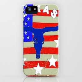 Western Patriotic Texas Longhorn Logo Pattern Art iPhone Case