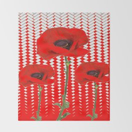 RED ON RED POPPIES ART Throw Blanket