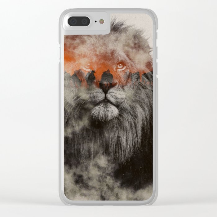 Lion In Fog Clear iPhone Case