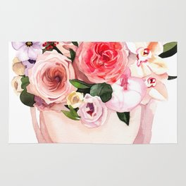 Hand-painted watercolor flower box with peonies and roses illustration on white background Rug
