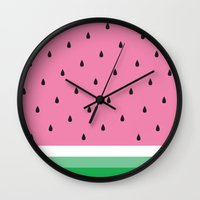 watermelon Wall Clocks featuring Watermelon by Anna Lindner