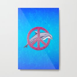 Dolphin And Pink Peace Sign Metal Print