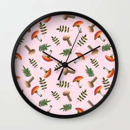 Positive mushrooms pattern Wall Clock