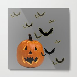 HALLOWEEN FLYING  BLACK BATS & CARVED PUMPKIN FACE Metal Print