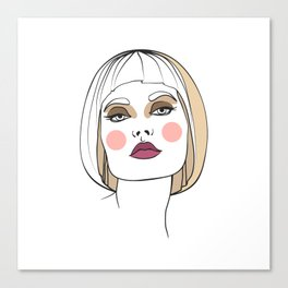 Blonde woman with makeup. Abstract face. Fashion illustration Canvas Print