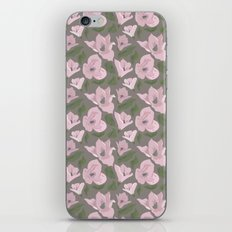 Floral seamless pattern magnolia on grey background iPhone & iPod Skin