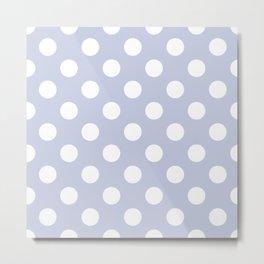 Light periwinkle - grey - White Polka Dots - Pois Pattern Metal Print