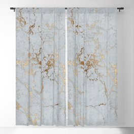 Stylish blush teal gold elegant abstract marble Blackout Curtain