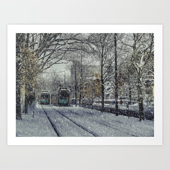 Never ending winter. Brookline, MA Art Print