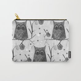Black And White Owls Carry-All Pouch