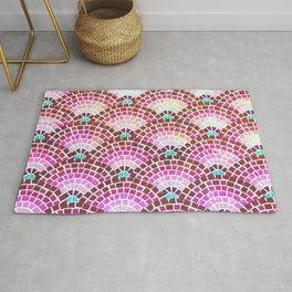 Mosaic Fan Pattern in Magenta Rug