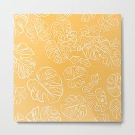 Monstera Jungle Golden Leaves Marigold Yellow & Buttercream pastel_vector drawing  Metal Print