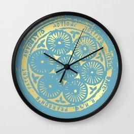 flower power: variations in aqua & gold Wall Clock