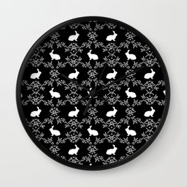 Rabbit pet silhouette floral rabbits bunny gifts cute minimal pets black and white Wall Clock