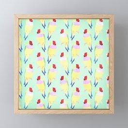 Cute Watercolor rainbow finch bird Mint Pattern Framed Mini Art Print