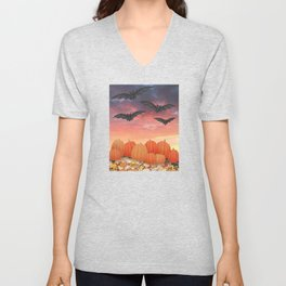 sunset pumpkins & bats Unisex V-Neck