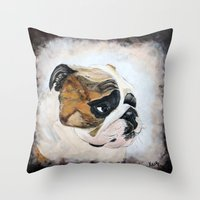 english bulldog Throw Pillows featuring English Bulldog by Kristiekoz