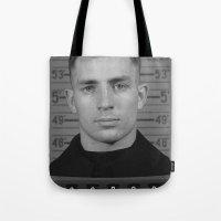 kerouac Tote Bags featuring Jack Kerouac Naval Enlistment Mug Shot  by All Surfaces Design