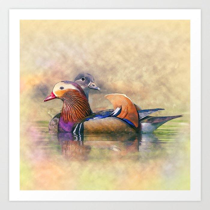 Watercolor Mandarin Ducks Feng Shui Symbol Kunstdrucke