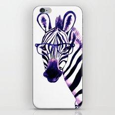 Zebra with glasses, purple iPhone & iPod Skin