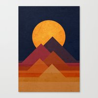 circle Canvas Prints featuring Full moon and pyramid by Picomodi