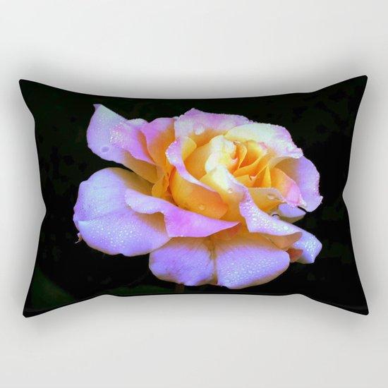 Pink And Gold Rose Rectangular Pillow