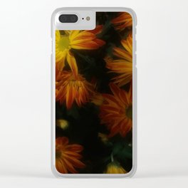 Red Striped Flowers Clear iPhone Case
