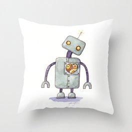 Robot With A Heart Throw Pillow