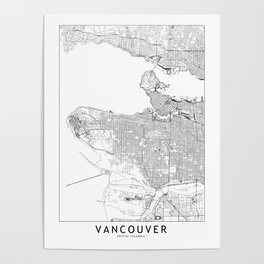 Vancouver White Map Poster