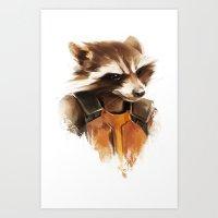 rocket raccoon Art Prints featuring Rocket by Colien