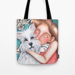 Sweet Coconut Original Art Schnauzer and girl Portrait Tote Bag