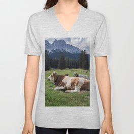 Cows in the Alps Unisex V-Neck